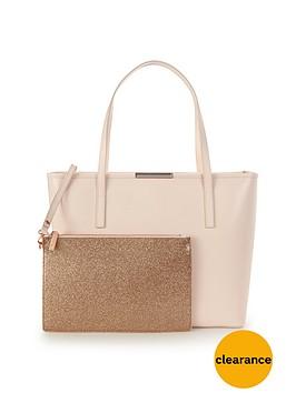 ted-baker-crosshatch-shopper-with-inner-glitter-purse-straw