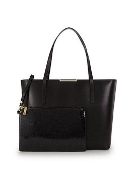 ted-baker-crosshatch-shopper-with-inner-glitter-purse-black