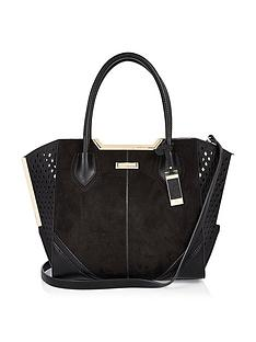 river-island-laser-winged-tote-black