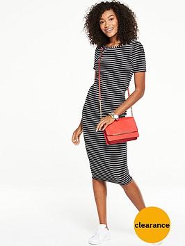 v-by-very-short-sleeve-textured-jersey-midi-dress