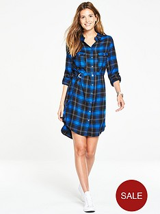v-by-very-check-studded-button-shirt-dress