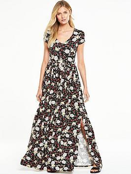 v-by-very-petite-short-sleeve-split-side-maxi-dress