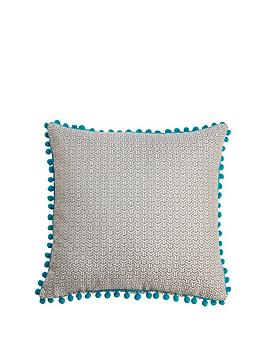 bobble-trim-jacquard-cushion