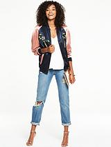 COLOUR BLOCK BIRD EMBROIDERY BOMBER