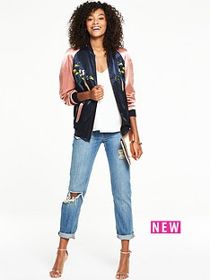v-by-very-colour-block-bird-embroidery-bomber