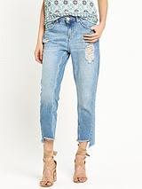 Ripped Twisted Seam Girlfriend Jean
