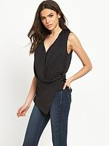 Sleeveless Wrap Blouse