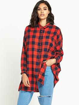 noisy-may-erik-oversized-check-shirt