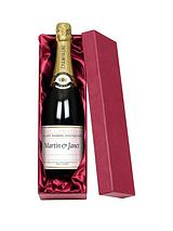 Personalised Wedding Anniversary Champagne in a Gold or Silk Lined Gift Box