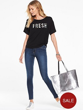 v-by-very-fresh-print-slogan-knot-front-tee