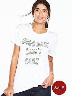 v-by-very-print-slogan-knot-front-tee