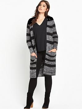 so-fabulous-pu-trim-knitted-long-line-cardigan
