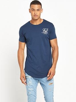 sik-silk-curved-hem-short-sleevenbspt-shirtnbsp--navy