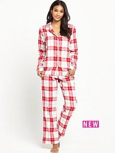 ugg-australia-raven-cosy-plaid-flannel-pyjama-set-lipstick-red