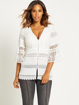rochelle-humes-fluted-sleeve-lace-blousenbsp