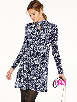 v-by-very-shirred-neck-keyhole-jersey-swing-dress