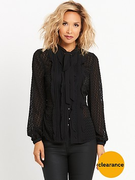 myleene-klass-burnout-pussybow-blouse-black
