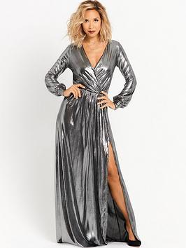 myleene-klass-deep-v-front-metallic-maxi-dress-silver