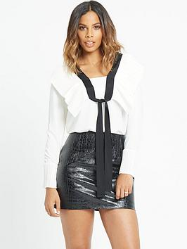 rochelle-humes-pleat-front-mono-tie-blouse