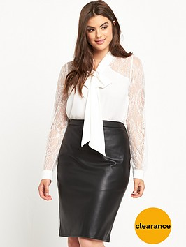 v-by-very-curve-lace-sleeve-and-back-yoke-pussybow-blouse