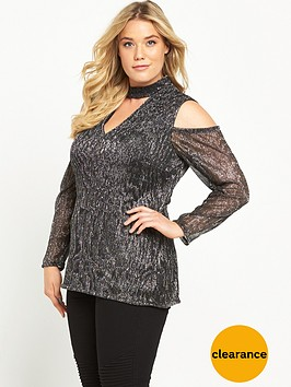 v-by-very-curve-metallic-crinkle-cold-shoulder-top