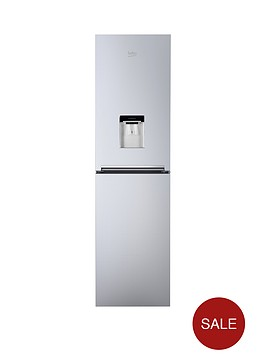 beko-cfg1582ds-55cm-frost-free-fridge-freezer-next-day-delivery-silver