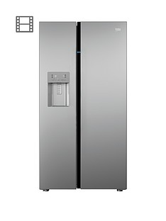 Beko ASGN542S Frost Free American-Style Fridge Freezer with Non Plumbed Water and Ice - Silver