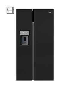 Beko ASGN542B American Style Fridge Freezer with Non-Plumbed Water and Ice - Black