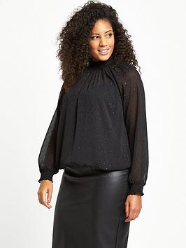 so-fabulous-metallic-dobby-spot-high-neck-blouse
