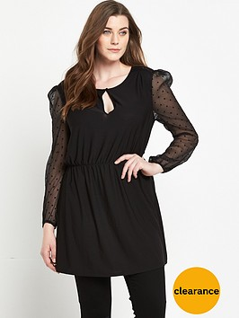 v-by-very-curve-spotted-mesh-tassle-front-jersey-top