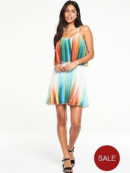 v-by-very-printed-pleated-mini-dress