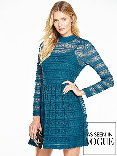 v-by-very-pleated-lace-skater-dress