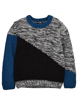 mini-v-by-very-boys-diagonal-colour-block-knitted-jumper