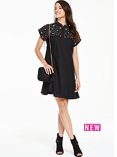 v-by-very-embellished-high-neck-swing-dress