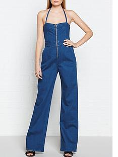 calvin-klein-flared-denim-jumpsuit-blue