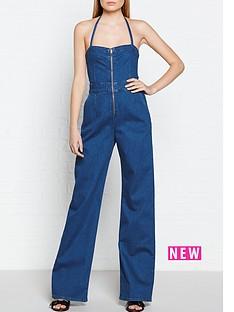 calvin-klein-flared-denim-jumpsuit-blue