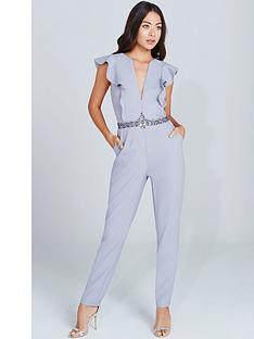 little-mistress-plunge-ruffle-jumpsuit-grey