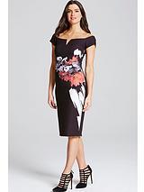 Rose Print Pencil Dress