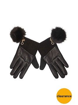 river-island-leather-faux-fur-pom-pom-detail-glove