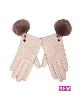 river-island-river-island-leather-fur-pom-pom-detail-glove