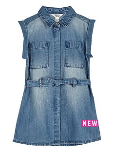 river-island-mini-mini-girls-blue-wash-belted-denim-dress
