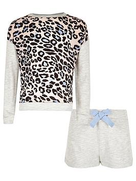 river-island-girls-grey-animal-print-sweatshirt-and-shorts-pyjama-set
