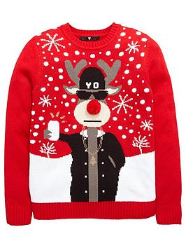 v-by-very-boys-rudolph-selfie-christmas-knit-jumper