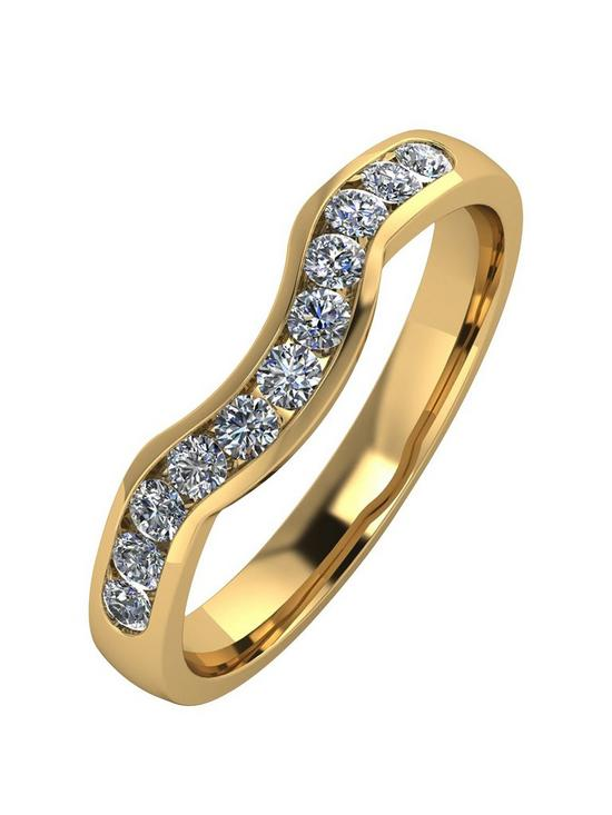 Moissanite 9ct Gold 33pt Channel Set Shaped Wedding Ring  d590f5c3cf5d