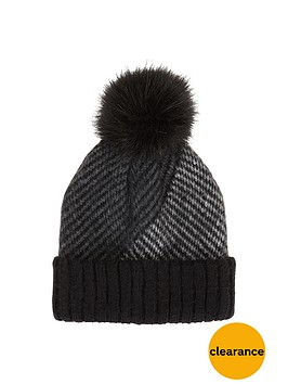 aldo-cheveron-beanie-with-fur-pom-pom