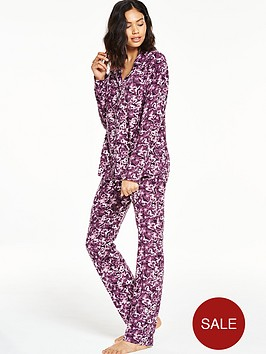 v-by-very-gift-wrapped-butterfly-fleece-button-through-pyjama-set