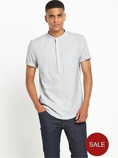 river-island-short-sleeve-grandadnbspcollar-textured-shirt
