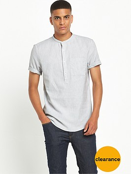 river-island-short-sleeve-grandadnbspcollar-textured-shirt