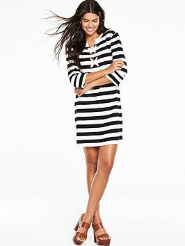 v-by-very-stripe-eyelet-lace-up-dress