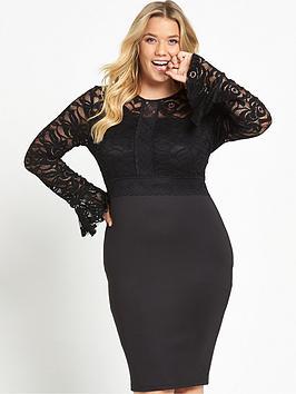 ax-paris-curve-lace-sleeve-bodycon-dress-black